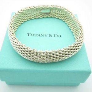 Tiffany Silver Somerset Mesh Bangle Bracelet